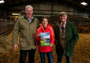 Beyond the Glen – A Strategy for the Scottish Venison Sector to 2030, Ladybank, Fife, UK. 03,09, 2018. Pic shows: l to r - Farmer Bob Prentice of Downfield Farm. Minister for Rural Affairs and the Natural Environment, Mairi Gougeon MSP. Bill Bewsher, Chairman of the Scottish Venison Partnership.   Credit: Ian Jacobs
